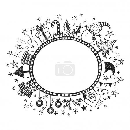 Illustration for Doodle frame with hand drawn Christmas decorations - Royalty Free Image