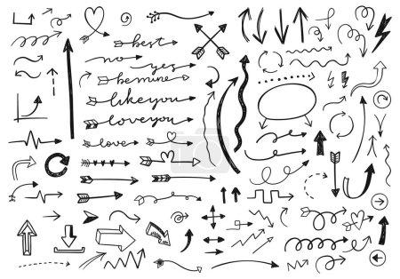 Illustration for Hand drawn arrows set. vector illustration - Royalty Free Image