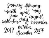 Trendy hand lettering set of months of the year words Brush handwritten names of months