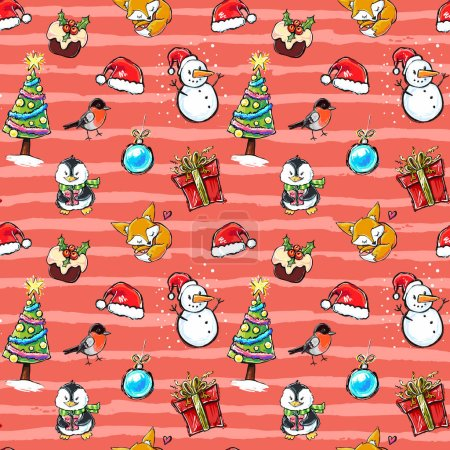 Happy Holidays illustrations set.