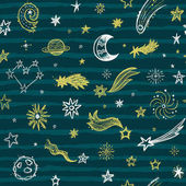 Seamless pattern with stars comets and planets on the golden background