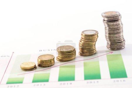 Photo pour Euro pièce au-dessus du graphique d'affaires isolé sur blanc - image libre de droit
