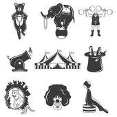 Set of circus monochrome icons design elements isolated on white background Flat style
