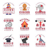 Set of circus emblems labels badges and logos on white background