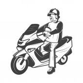 Boy on scooter vector illustration in monochrome vintage style