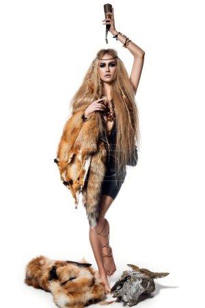 Beautiful woman in wild style