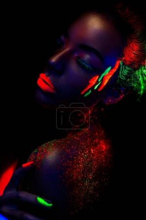 Beautiful woman in neon colors