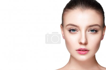 Photo for Beauty portrait of woman with fresh clear nude make up, healthy skin, skin care concept - Royalty Free Image