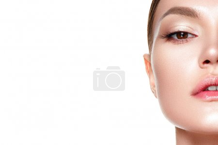 Photo for Beauty portrait of young woman with fresh clear nude makeup, healthy skin, isolated on white background - Royalty Free Image