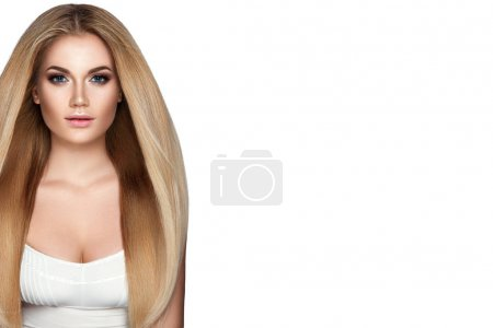 Woman with Healthy Blond Hair.