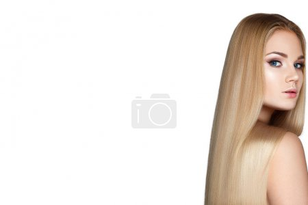 Photo for Portrait of blonde model with smooth long hair on white background - Royalty Free Image