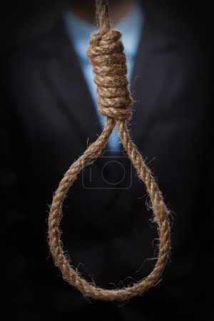 Man about to hang himself in the noose