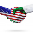 Flags United States and Algeria countries, handsha...