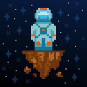 Pixel art Astronaut stay on the asteroid