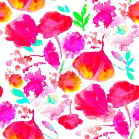 Photo pour Sans soudure motif floral Aquarelle sur la texture du papier. Fond de botanique - image libre de droit