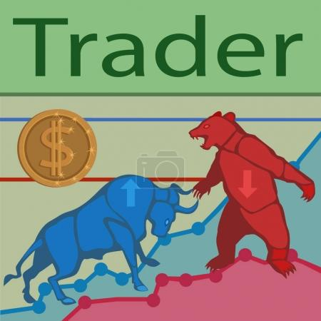Trader bulls and bears/ Trade bulls prices up and bears prices down constantly goes the struggle for prices to buy and sell to earn a lot of money!