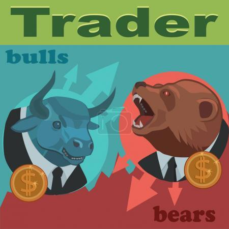 Traders are bulls and bears/ Traders bulls and bears are constantly fighting for the prices to buy and sell to profitably earn a lot of money!