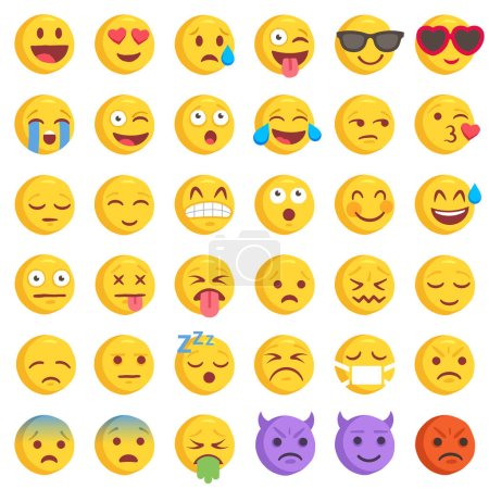 Illustration for Big Set of 36 high quality vector cartoonish emoticons, in rough hand-drawn design style - Royalty Free Image