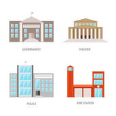 Set of urban buildings in a flat style Government building theater police and fire station Vector illustration isolated on white background EPS10