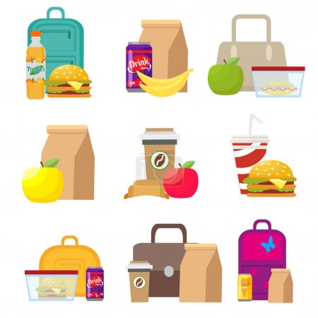 Illustration for School lunch food boxes and kids bags. Vector, illustration in flat style isolated on white background EPS10 - Royalty Free Image