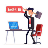 Broken computer with a blue screen of death Computer virus An angry businessman or manager with a sledgehammer in his hand expresses swearing Flat illustration isolated on white background