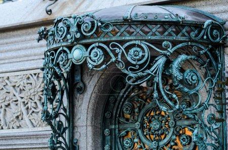 vintage blue wrought iron gate