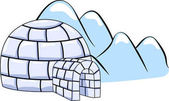 an igloo on winter hills background