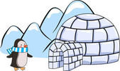 an igloo and penguin with blue and white scarf on winter hills background