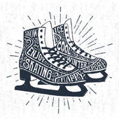 Hand drawn icon with textured ice skates vector illustration
