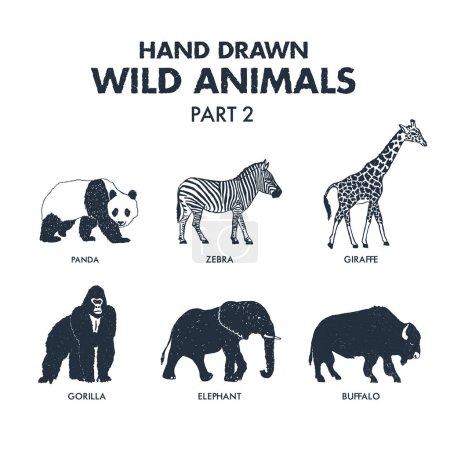 Hand drawn wild animals icons set.
