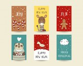 Cute hand-drawn Christmas cards vector illustration