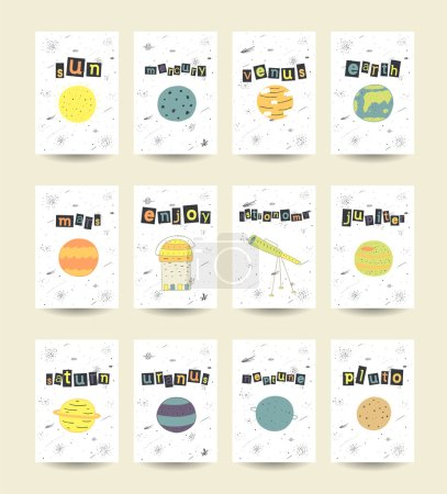 Illustration for Hand-drawn cosmic cards, vector illustration - Royalty Free Image
