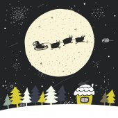Cute hand drawn doodle Christmas background postcard with flying santa sledge deers full moon sky christmas trees house stars New Year cover flyer