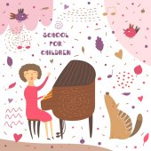 Cute hand drawn card postcard with music teacher playing pianoWoman sitting on chair and singing Background for musical school classes education Animals set including bird wolf