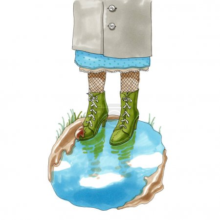 marker illustration. Feet in the shoes standing in a puddle