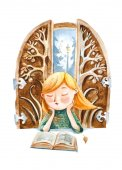 Watercolor illustration. The boy with book dreaming about a big