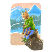 Watercolor illustration. Cute animal like humans. Humanized anim