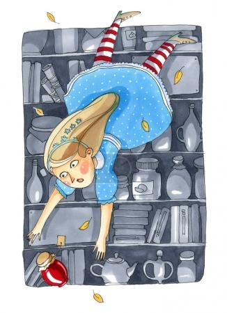 Watercolor illustration isolated on white background. Fairy tale about Alice in Wonderland. The girl in blue dress falls into a deep pantry