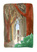 Watercolor illustration isolated on white background. The girl g