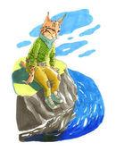 Marker illustration. Cute animal like humans. Humanized animal.