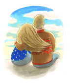 the man and the woman hugging eatch other, waterolor illustratio