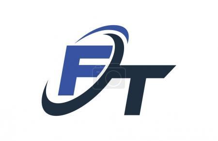 Illustration pour Logo FT Blue Swoosh Global Digital Business Letter - image libre de droit