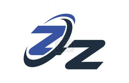 ZZ Letter Logo Blue Swoosh Global Digital Business