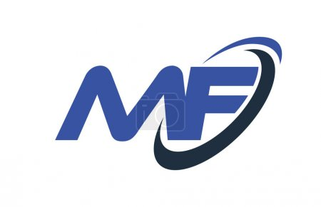 Illustration for MF Logo Swoosh Ellipse Blue Letter Vector Concept - Royalty Free Image