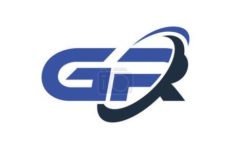 GR Logo Swoosh Elipse Azul Letra Vector Concepto