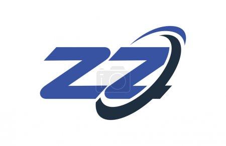 ZZ Logo Swoosh Ellipse Blue Letter Vector Concept