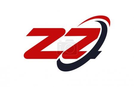 ZZ Logo Swoosh Ellipse Red Letter Vector Concept