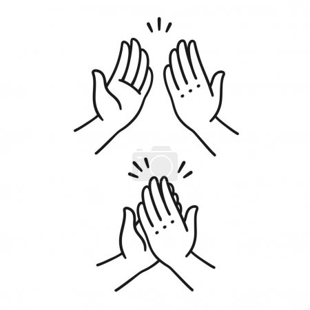 Sep of two hands clapping in high five gesture. Simple cartoon style. Isolated on white.