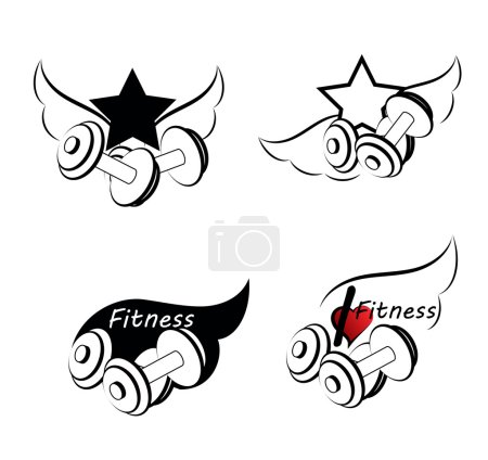 Set of various sports and fitness logo i