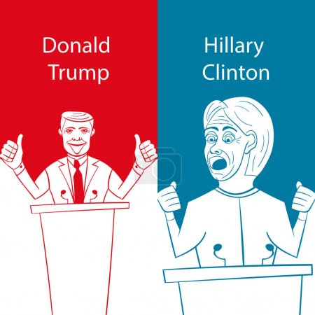 Showing Republican Donald Trump vs Democrat Hillary Clinton face-off for American president with words Election 2016